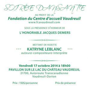 Publicitée souper dansant Fondation du centre d'accueil Vaudreuil 17 octobre 2014