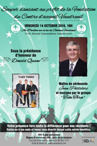 Souper dansant au profit de la Fondation du Centre d'accueil Vaudreuil  le vendredi 14 octobre 2016.
