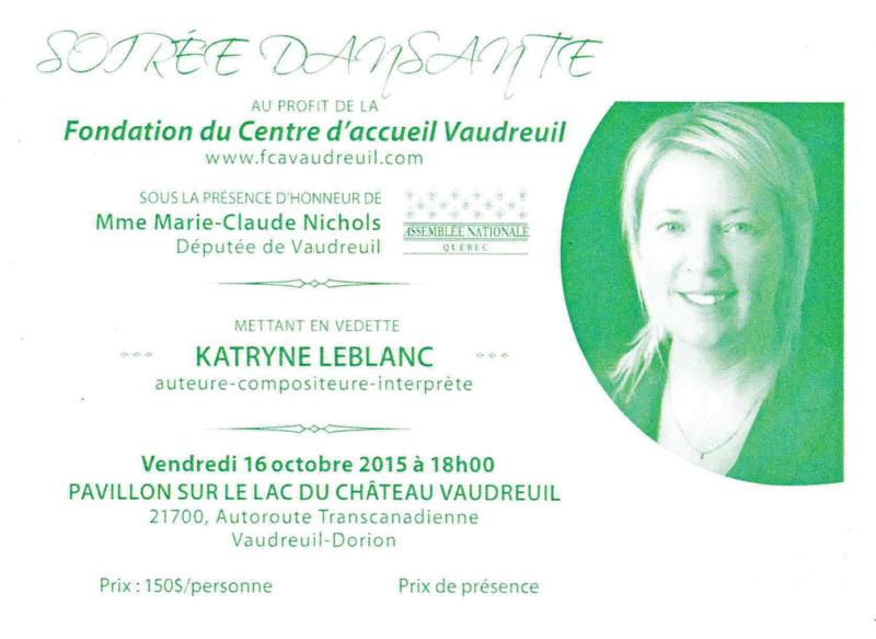 Une invitation de la Fondation du centre d'accueil Vaudreuil le 16 octobre 2015