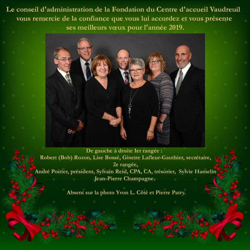 Voeux Bonne Année 2019  Fondation du Centre d'accueil Vaudreuil