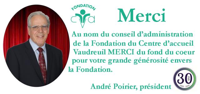 André Poirier, président de la Fondation du Centre d'accueil Vaudreuil